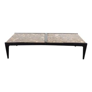 Mid-Century Modernist Ebonized Walnut Table with Metamorphic Granite Top For Sale
