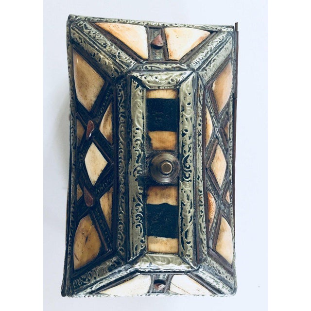 Moroccan Decorative Jewelry Box Inlaid With Bone and Silvered Brass For Sale - Image 12 of 13