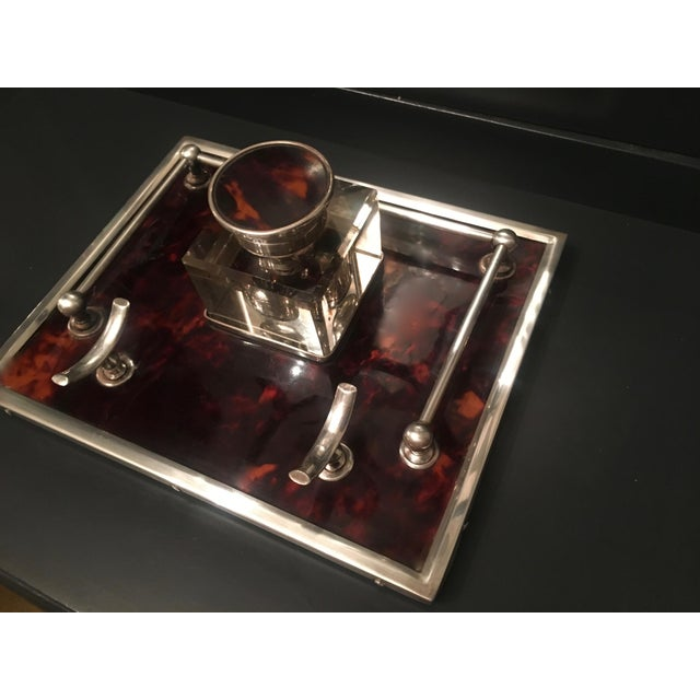 Red Tortoise & Sterling Silver Ink Well For Sale - Image 4 of 6