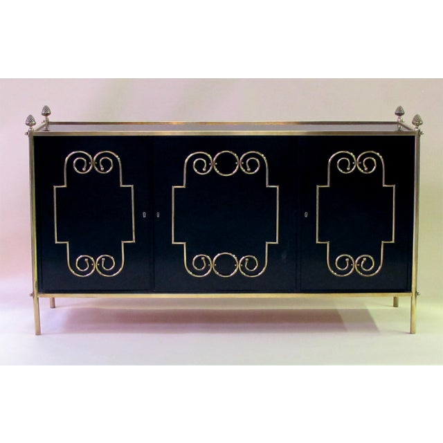 1950s An exquisite American mid-century custom-made black lacquer 3-door sideboard/buffet with applied brass scroll work; by Daniel Jones, Inc. New York For Sale - Image 5 of 5