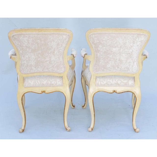 Gold Pair of Painted & Parcel Gilt Armchairs For Sale - Image 8 of 9