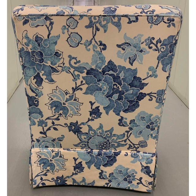 Textile Blue & Off White Upholstered Armchair For Sale - Image 7 of 8