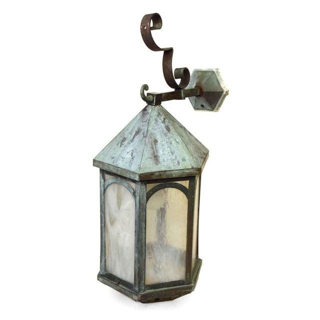 Copper Antique Lantern Sconce For Sale - Image 8 of 9