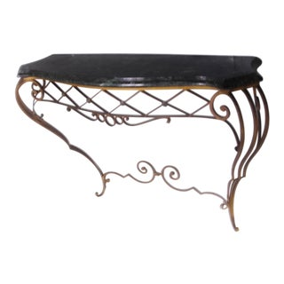 1920s French Iron Console Table For Sale