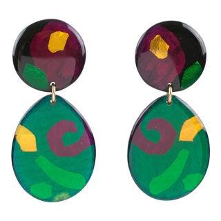 Pop Art Dangle Multicolor Lucite Clip Earrings For Sale