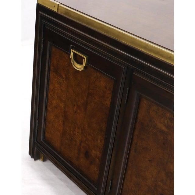 Solid Brass Trim Burl Wood Credenza Server Cabinet Extra Long Dresser For Sale - Image 6 of 10