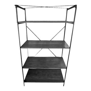 1940s French Iron Display Unit With Four Painted Wood Shelves For Sale