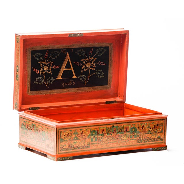 A hard-to-find extra large 19th-century Burmese lacquerware table top decorative box with a highly detailed two-horse...