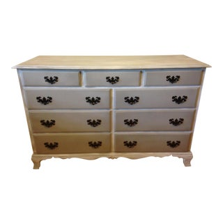 Cal Shops Hand Painted Grey 9 Drawer Buffet / Dresser For Sale