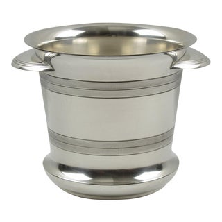 French Art Deco Modernist Silver Plate Champagne Bucket, Wine Cooler For Sale