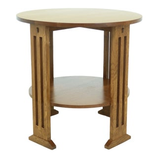 Stickley Round Mission Oak Occasional Lamp Table For Sale