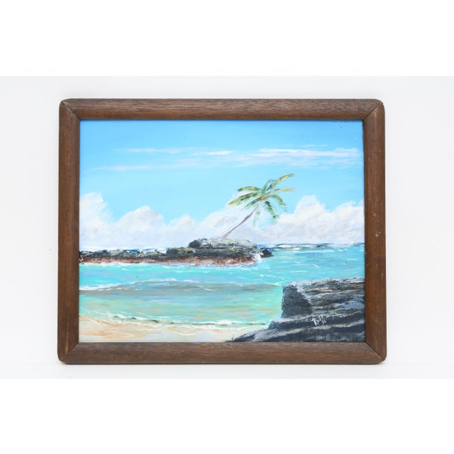 Vintage 1960's Oil Seascape Beach Painting on Canvas For Sale - Image 4 of 4