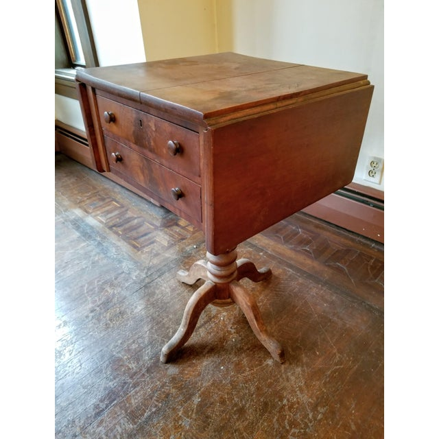 American American Empire Mahogany Drop-Leaf Side Table For Sale - Image 3 of 6