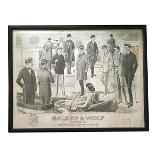 Antique Men's Clothing Advertising Poster, 1917 For Sale