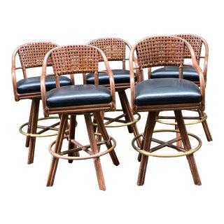 1990s Vintage McGuire Custom Barstools - Set of 5 For Sale