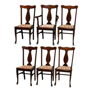 20th Century Vintage Rj Horner Carved Mahogany T-Back Upholstered Dining Chairs- Set of 6 For Sale