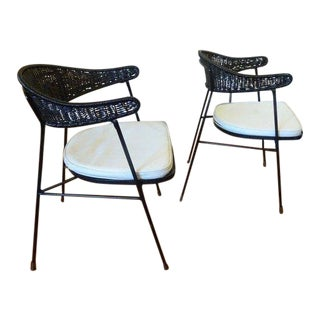 Salterini for Tempestini Wrought Iron Wicker Back Chairs - a Pair