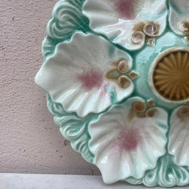 Orchies Late 19th Century Majolica Handled Oyster Plate Orchies For Sale - Image 4 of 6