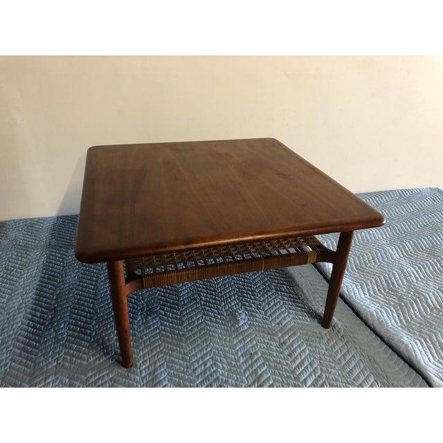 Wood Mid-Century Modern Johannes Andersen Rattan Shelf Coffee Table For Sale - Image 7 of 7