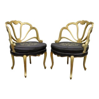 Vintage Pair French Style Hollywood Regency Gold Slipper Lounge Shell Chairs For Sale