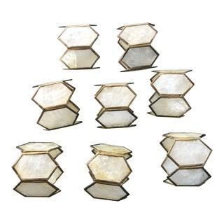 Vintage Capiz Shell Brass Diamond Shape Napkin Rings - Set of 8 For Sale