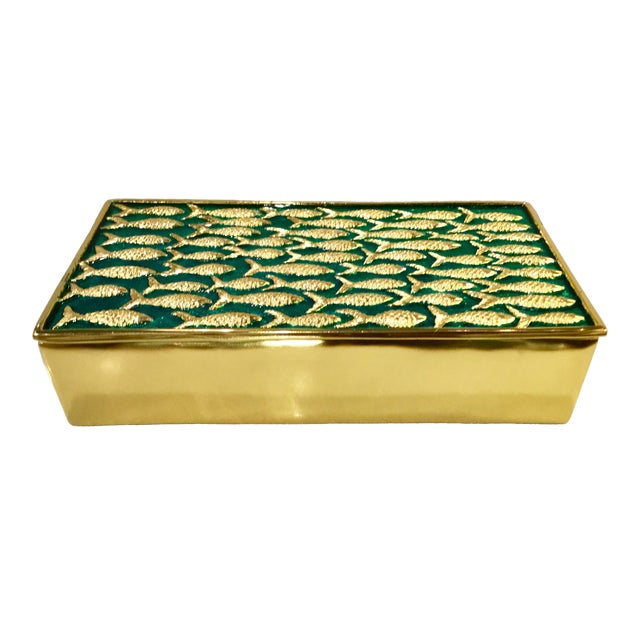Modern Gold Fish on Turquoise Metal Sea Box For Sale