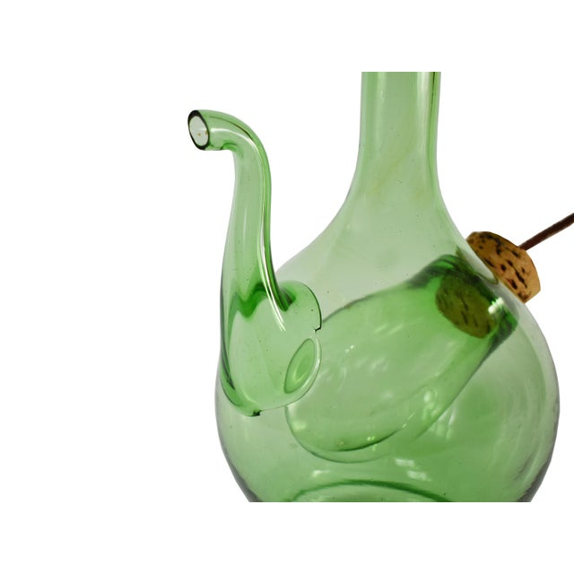 Vintage Hand Blown Italian Green Glass Wine Decanter Carafe With Ice Chamber Chiller and Stoppers For Sale - Image 6 of 7