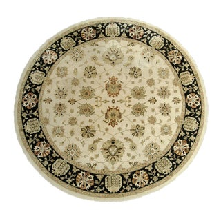 Kalaty Oushak Ivory & Black Round Rug - 10' X 10' For Sale