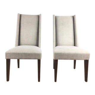 West Elm Gray Upholstered Side Chairs - a Pair