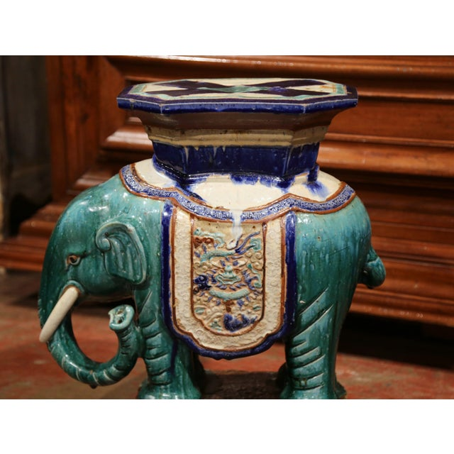 Blue Early 20th Century French Faience Hand Painted Elephant Garden Seat For Sale - Image 8 of 11