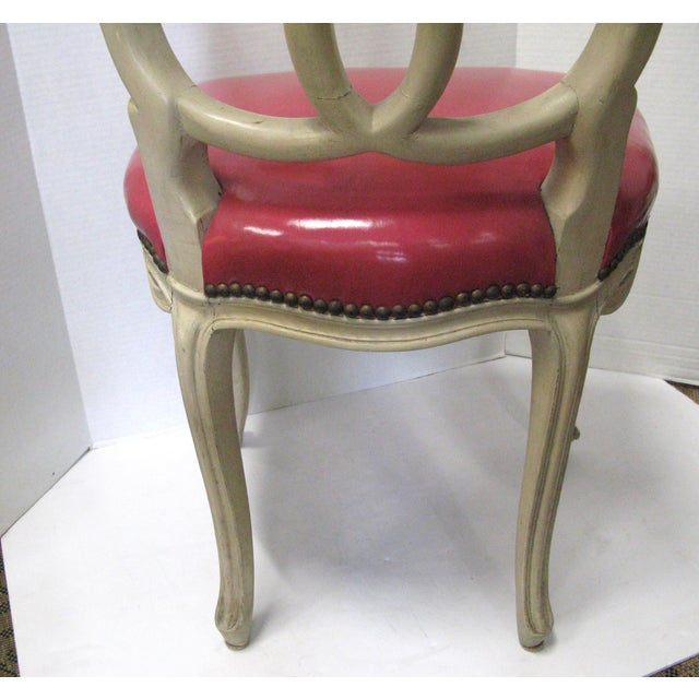 Italian Painted & Pink Leather Chairs - A Pair - Image 10 of 10
