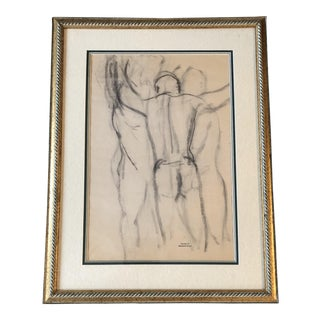 Original Vintage Male 3Figure Nude Study by Bernard Segal For Sale