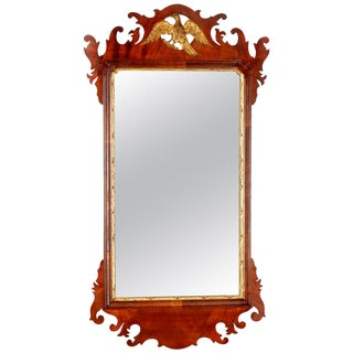 Antique Federal Chippendale Figural Mahogany & Gilt Phoenix Wall Mirror For Sale