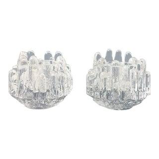 1980s Scandinavian Kosta Boda Crystal Polar Votive Candleholders - a Pair