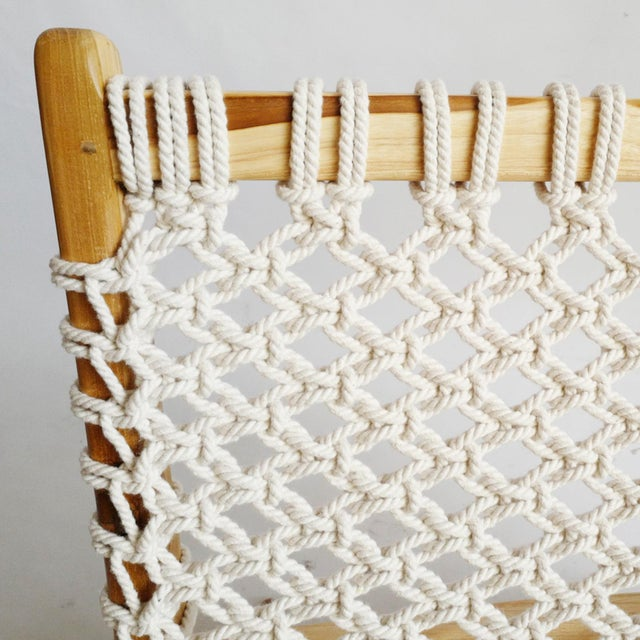 Contemporary Woven Rope Teak Easy Chair For Sale - Image 3 of 4