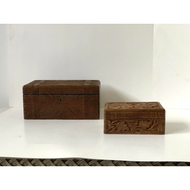 English Wooden Carved Boxes, 19th Century - a Pair For Sale - Image 13 of 13