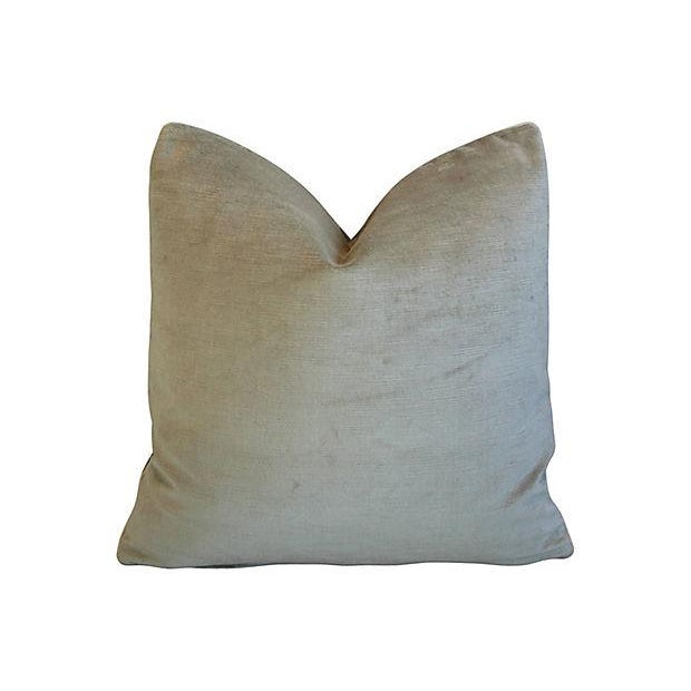 Custom Tailored Castel Gray/Taupe Radha Ikat Feather/Down Pillows - Pair For Sale - Image 5 of 7