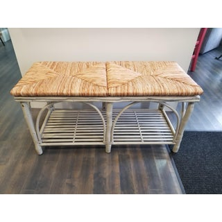 White Frame Woven Rush Seat Bench Preview