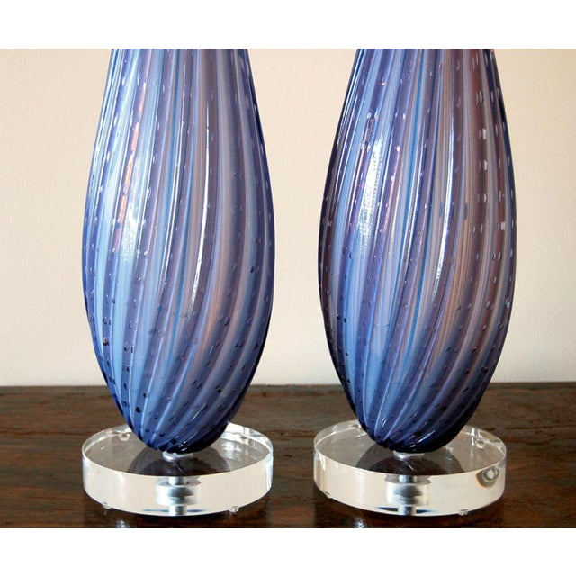 Glass Vintage Murano Opaline Glass Table Lamps Lavender For Sale - Image 7 of 9
