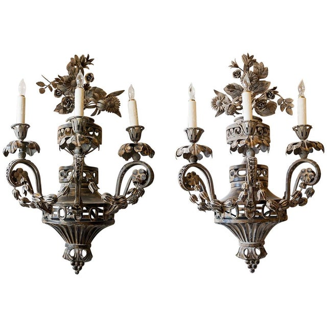 Off-white Pair of 19th Century French Sconces - A Pair For Sale - Image 8 of 8