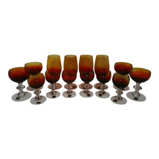 Vintage Czech Blown Glass Crystal Stemware - Set of 14 For Sale