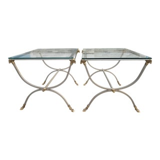 Maison Jansen Style Brushed Steel & Gilt Bronze Neoclassical Side Tables With Ram Heads-A Pair For Sale