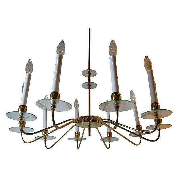 Mid-Century Modern Brass & Glass 10 Light Chandelier For Sale - Image 3 of 5