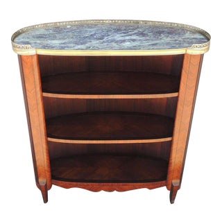 20th C French Marble-Top Bookcase For Sale