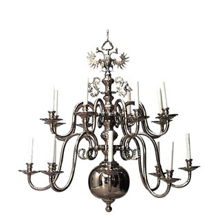 19th-20th Century Continental Dutch Style Brass Two-Tier 12-Arm Chandelier For Sale