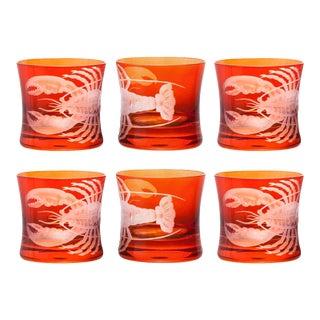 ARTEL Lobster Rocks Glass in Burnt Orange - Set of 6 For Sale