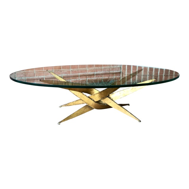 1960s Silas Seandel Brutalist Gold Metal + Glass Coffee Table For Sale
