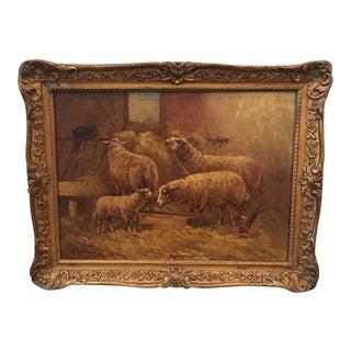 1900s Antique Farmhouse Oil Painting by Paul Schouten For Sale