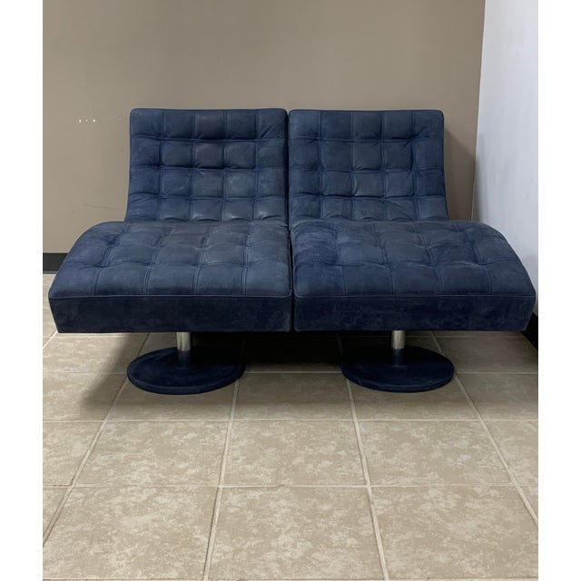 Blue Post Modern Italian Leather Roche Bobois Swivel Lounge Chair and Ottoman For Sale - Image 8 of 12