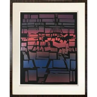 Vintage Abstract Brutalist Color Serigraph by Nancy Koren For Sale